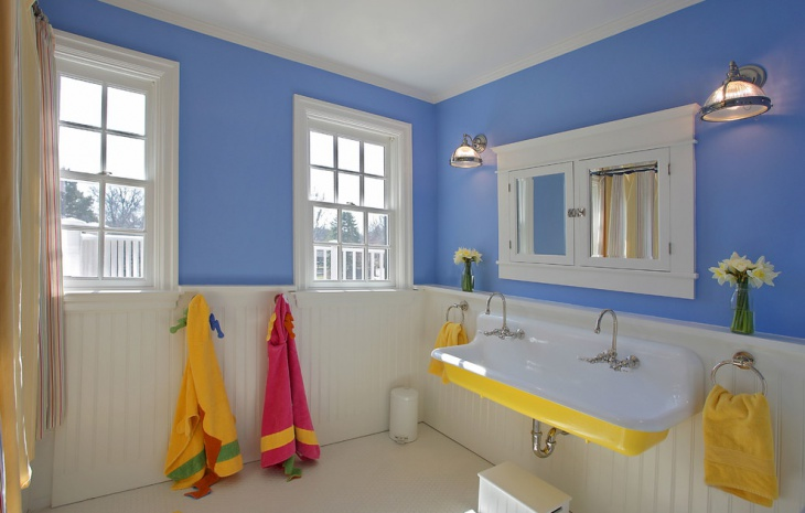Blue and Yellow Paint Kids Bathroom