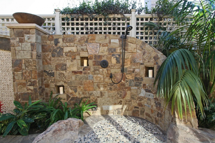 rock stone patio shower area