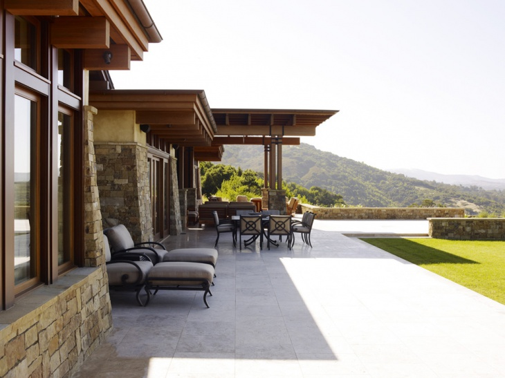 modern stone patio dining place
