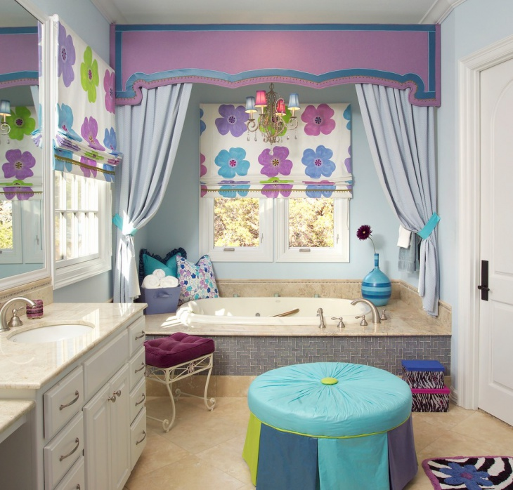 Floral Art Bathroom Design For Kids