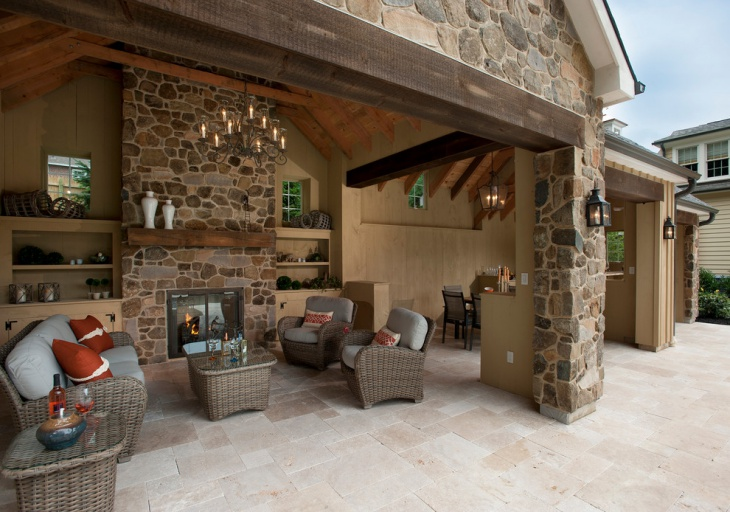 Travertine Tile Pattern Patio Idea