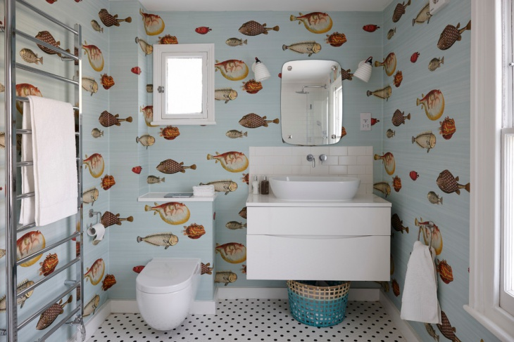 Eclectic Bathroom With Fishes Designed Wall