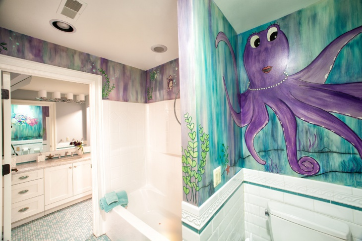 Sea Themed Wall Ideas For Bathroom
