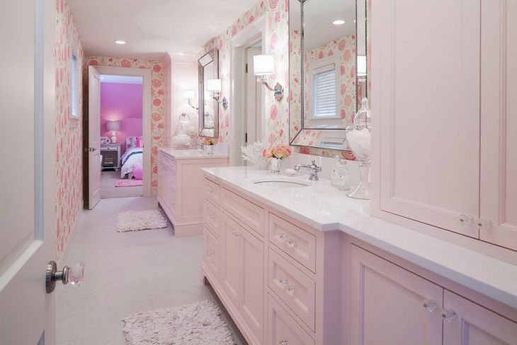 Transitional Light Pink Kids Bathroom Idea