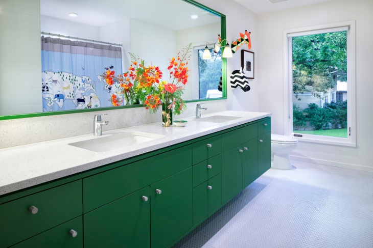 Kids Bathroom With Green Cabinets
