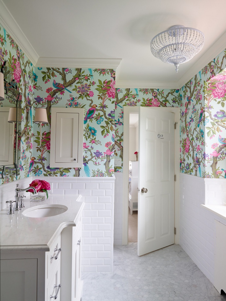 Traditional Kids Bathroom With Nature Theme Walls