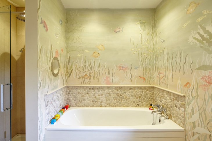 Tropical Kids Bathroom With Designed Walls
