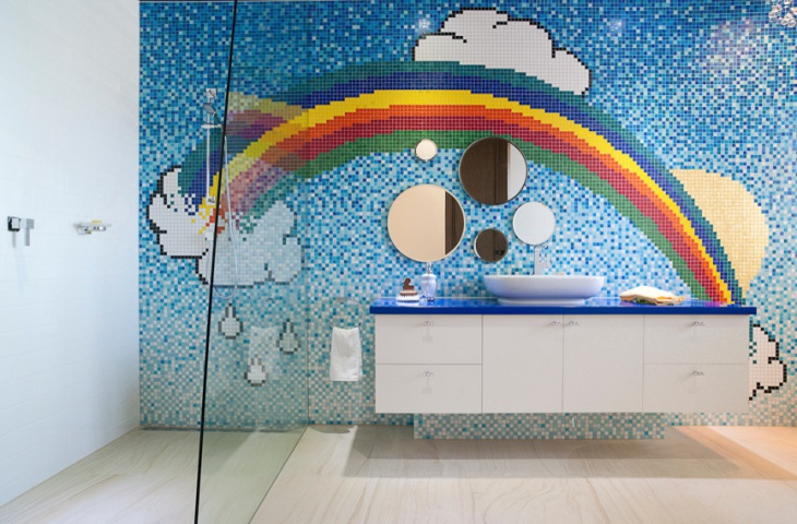 Rainbow Wall Designed Childrens Bathroom