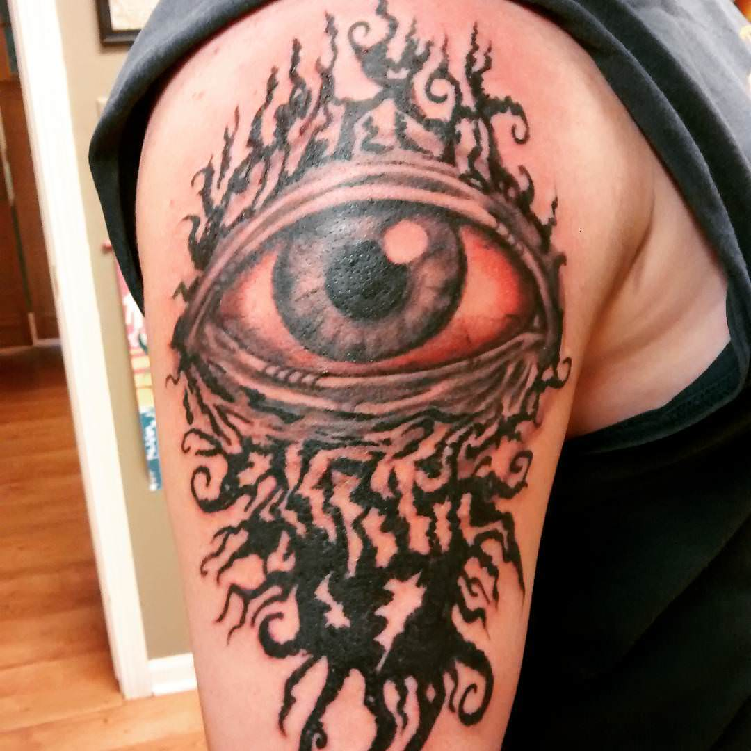 Eye Sleeve Tattoo Design on Right Hand