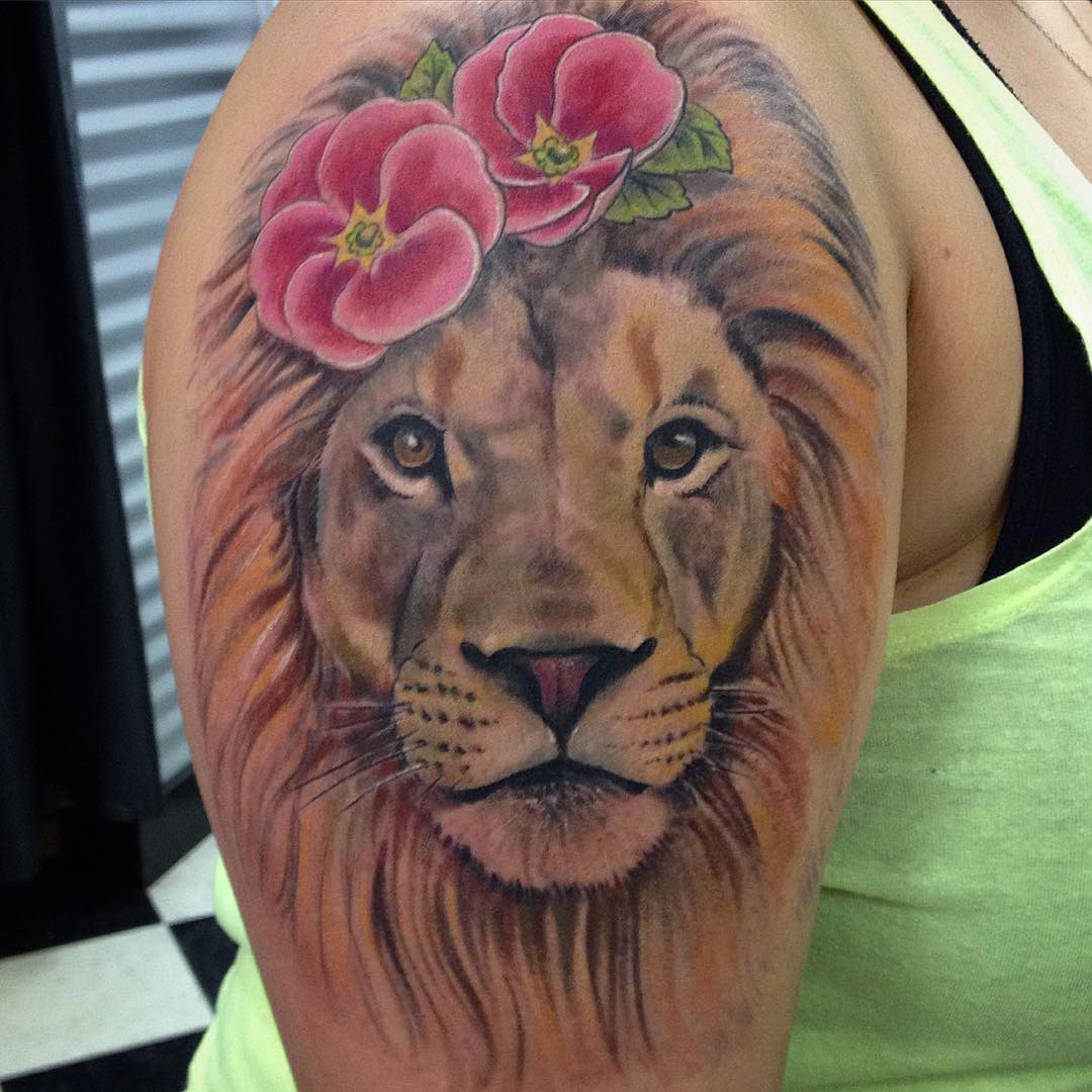 Lion on Right Hand Arm Sleeve Tattoo