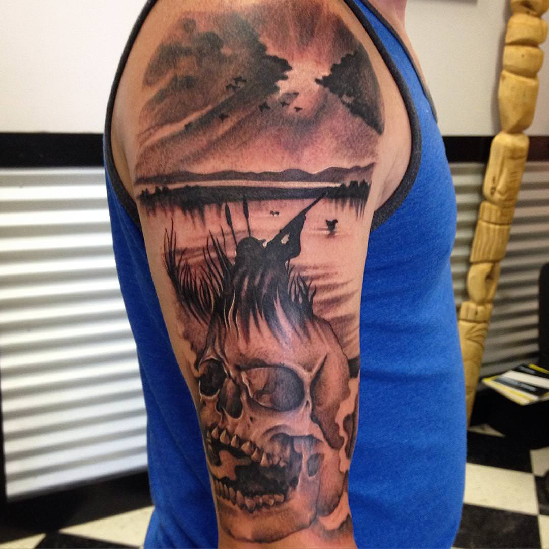 Men Cape Arm Sleeve Tattoo