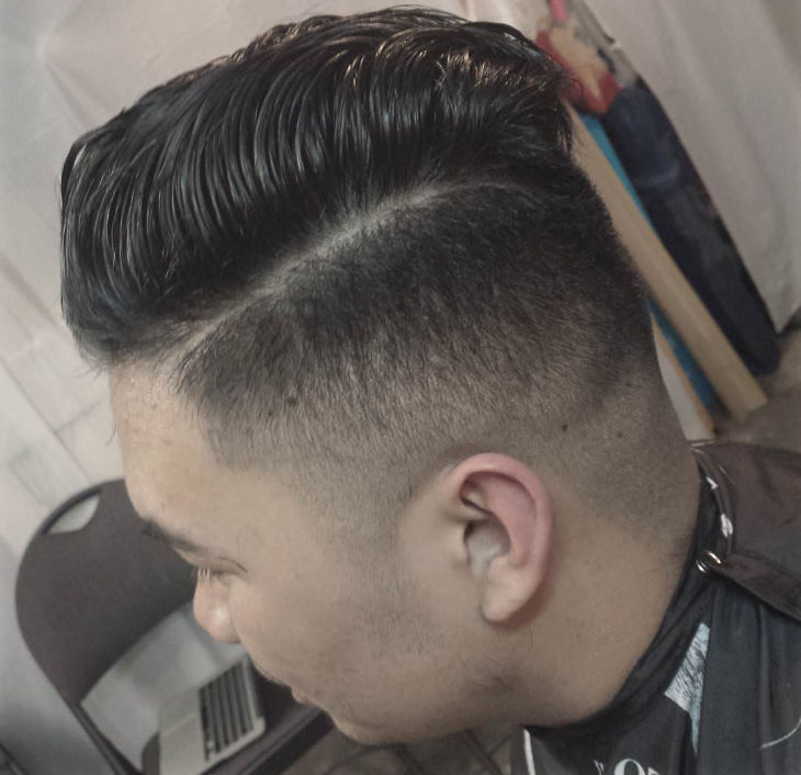 Temple Pomp Fade Haircut Design