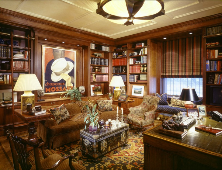 20 library home office designs decorating ideas design for Traditional home decor