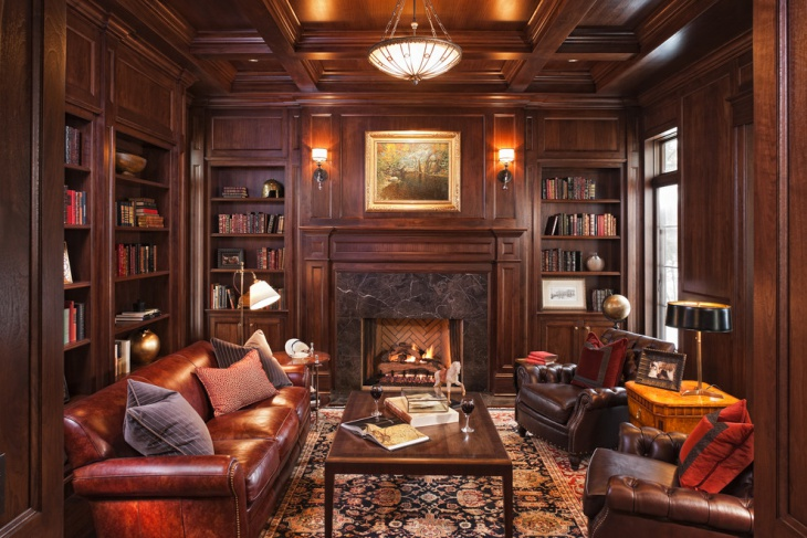 Brown Color Library Home Office