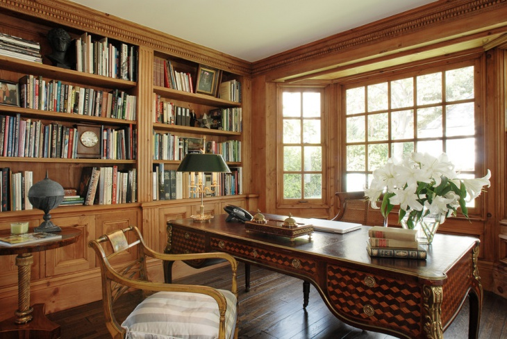 wooden home office library design