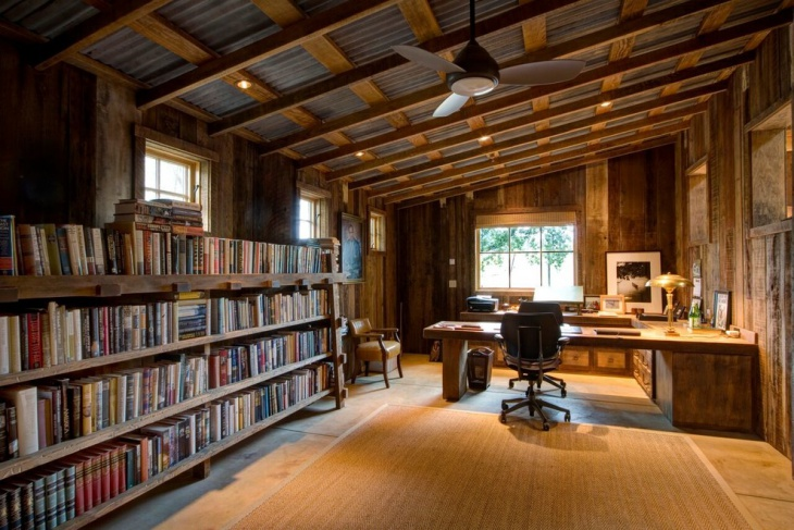 Rustic Large Library Home Office
