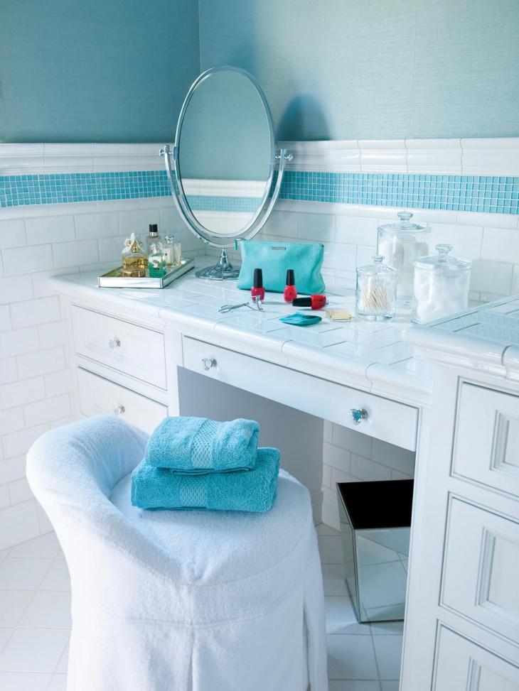 blue towel for bathroom vanity