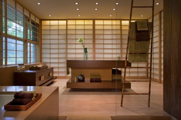 Asian Bathroom With Unique Color Towels