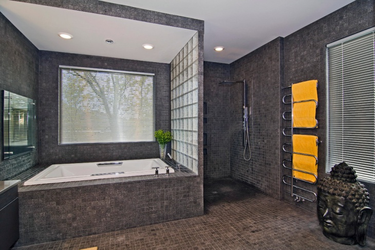 large bathroom with yellow color towels
