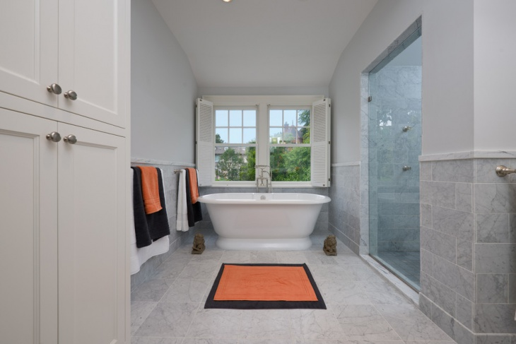 Traditional Bathroom With Marble Tiles