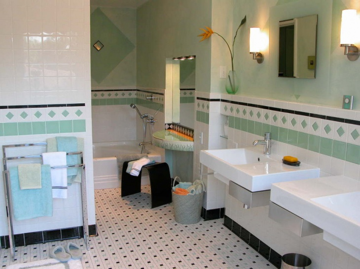 small bathroom with dotted floor tiles