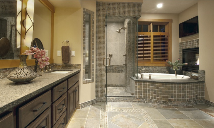 contemporary bathroom with mosaic tiles