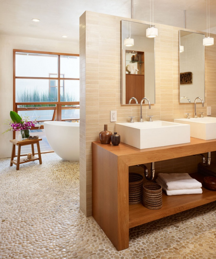 Tropical Bathroom With Pebble Tile Designs