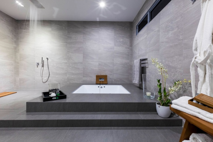 Contemporary Gray Spa Bathroom Design