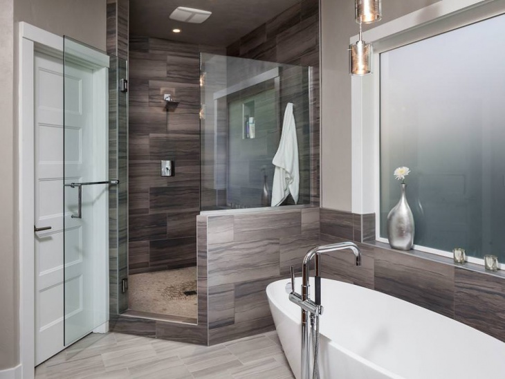 Masculine Spa Bathroom With Glass Door