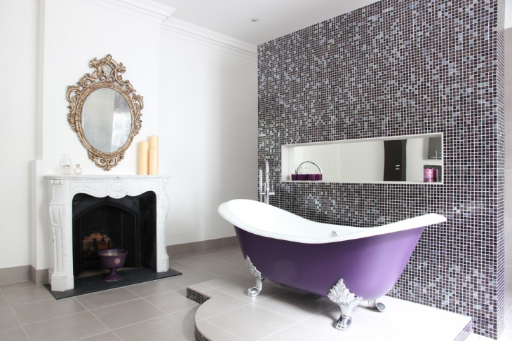 Transitional Spa Bathroom With Purple Bath Tub