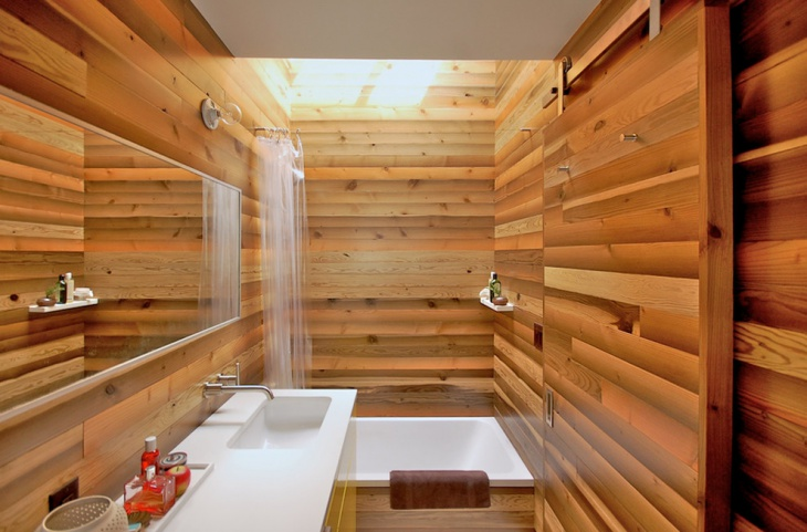 Wood Accent Wall Designed Spa Bathroom