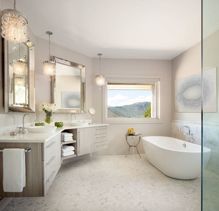 Transitional Luxury Bathroom With Cabinets