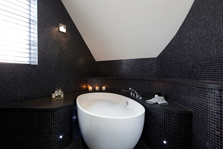 Black Wall and Floor Tiles Spa Bathroom.