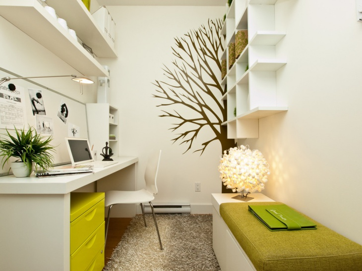 Green Home Office With Tree Wall Art