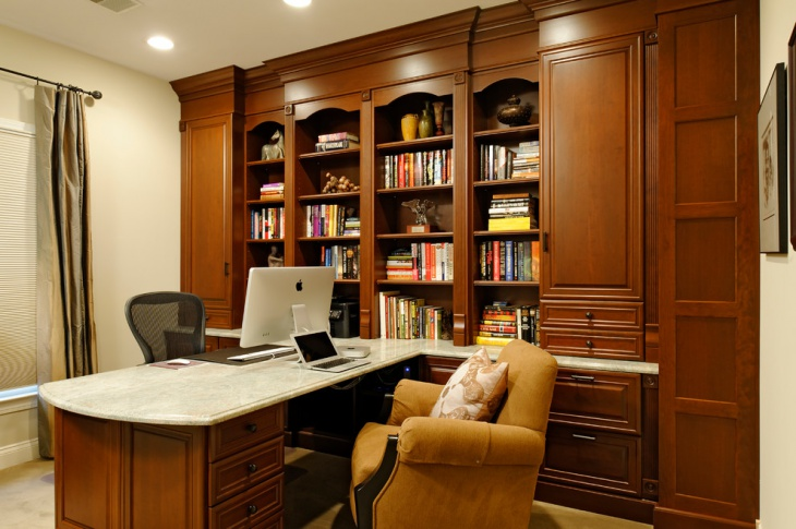 Brown Color Small Home Office Design Picture