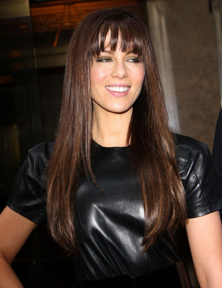 Kate Beckinsale Long Hairstyle with Bangs