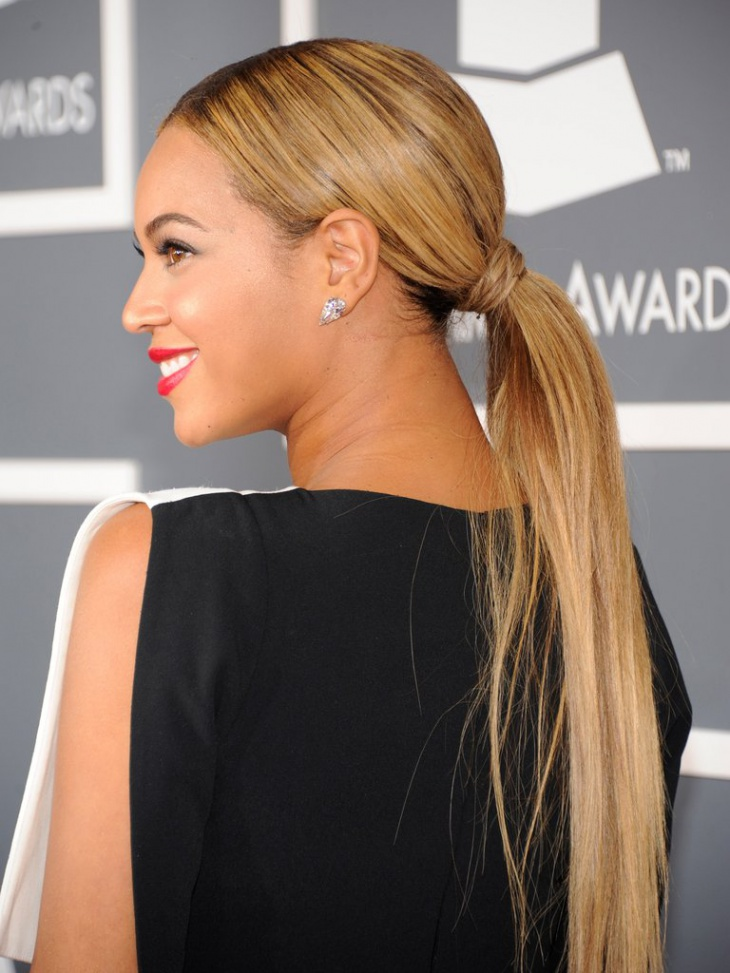 Beyonce Long Ponytail Hairstyle