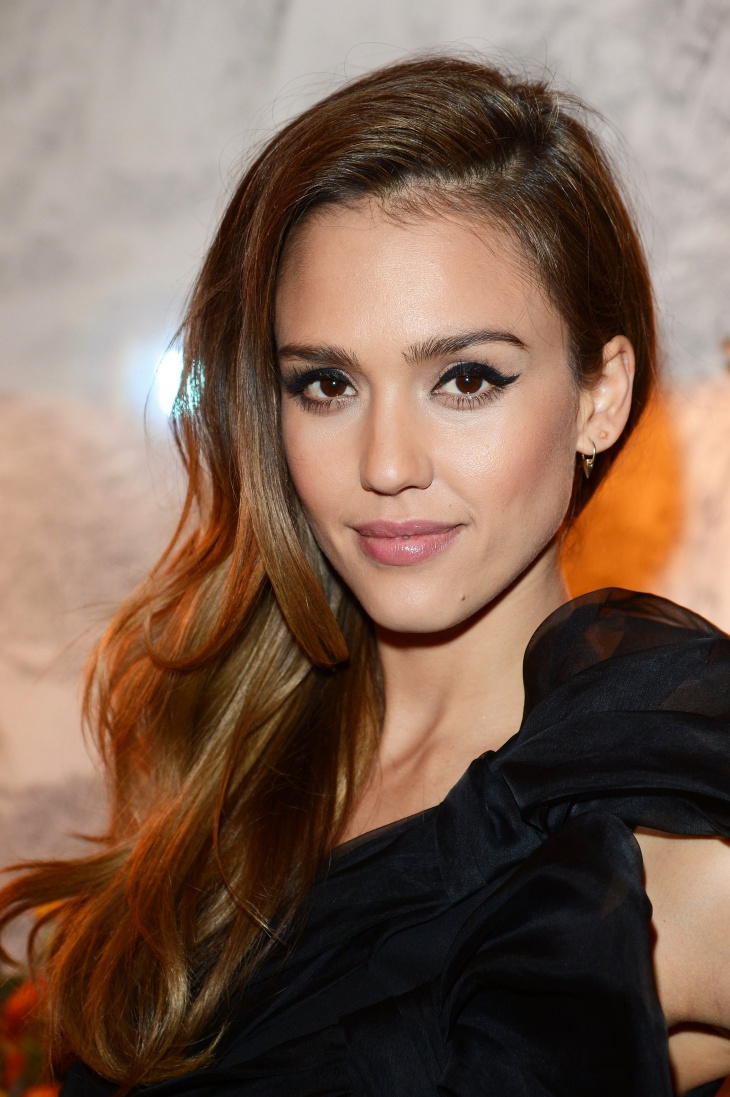 Jessica Alba Long Side Swept Hair
