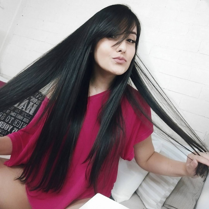 Long Straight Hairstyle with Bangs