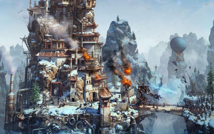 Ice City Steampunk Wallpaper