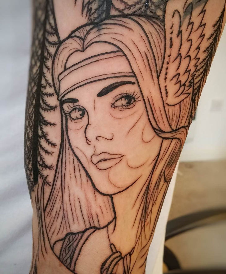 awesome girl face hand tattoo