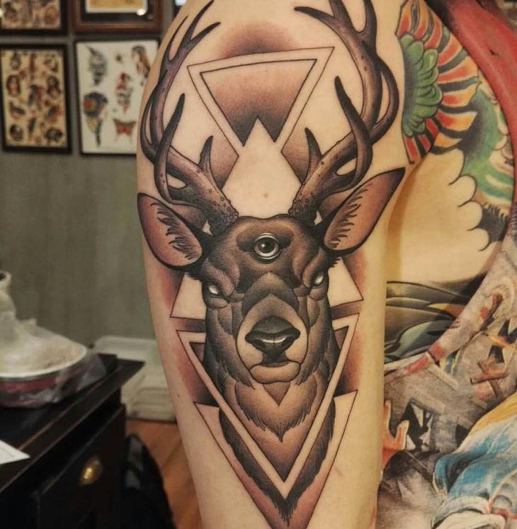 superb arm tattoo design of viking