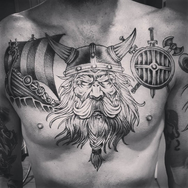 viking complete chest tattoo for men
