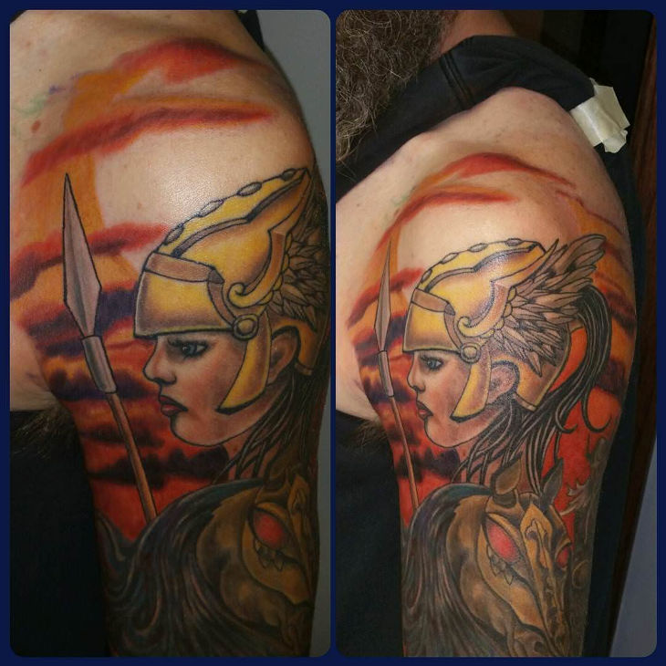 colorful tattoo of viking