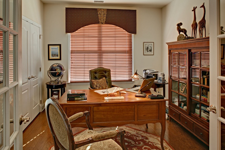 small masculine home office with wooden furniture