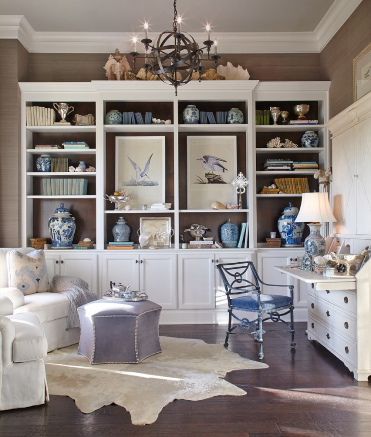 beach style office with blue and white interior