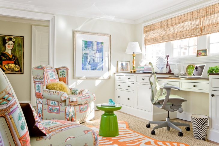transitional minimalist home office interior