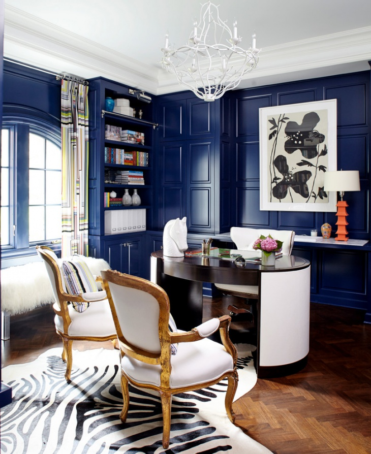 Blue Color Interior For Small Home Office