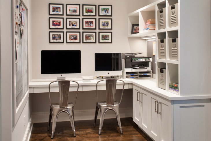 Small Office With Black and White Interior