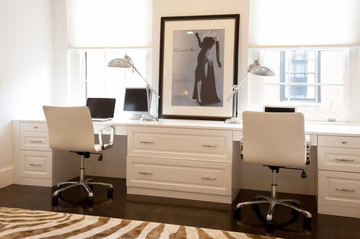 White Home Office With Custom Built Desks